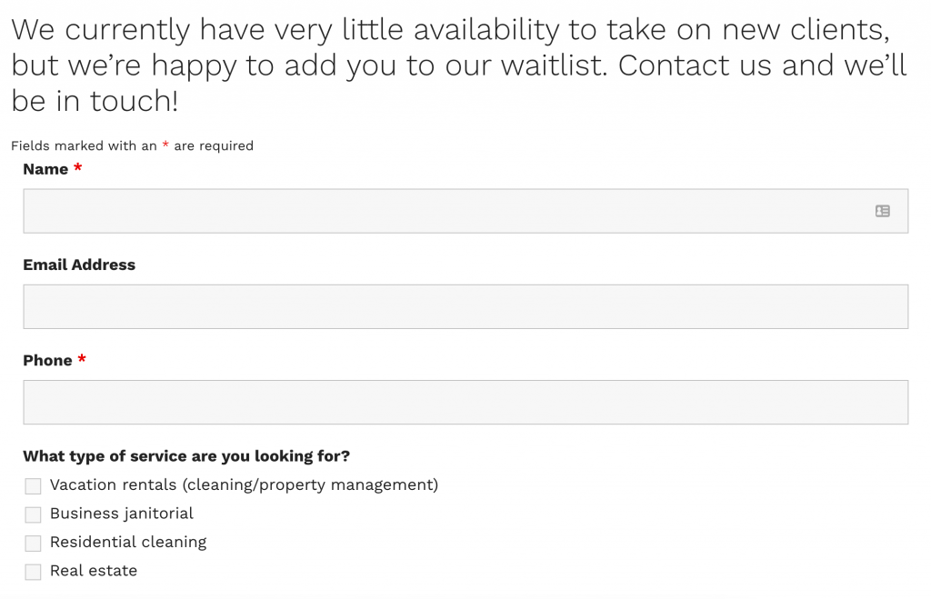 a screenshot of the Perfect Clean Inc.'s WordPress website showing their limited availability and a contact form
